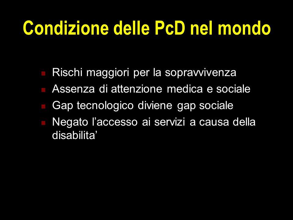Condizione delle PcD nel mondo Rischi maggiori per la sopravvivenza Assenza di attenzione medica e sociale Gap tecnologico diviene gap sociale Negato l'accesso ai servizi a causa della disabilita'