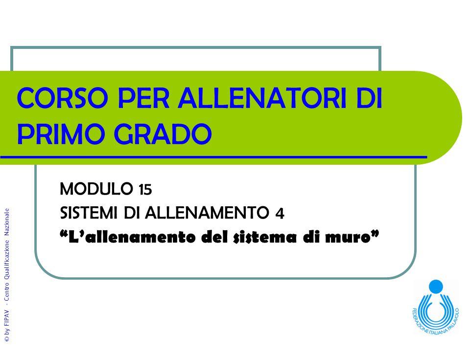 """© by FIPAV - Centro Qualificazione Nazionale CORSO PER ALLENATORI DI PRIMO GRADO MODULO 15 SISTEMI DI ALLENAMENTO 4 """"L'allenamento del sistema di muro"""