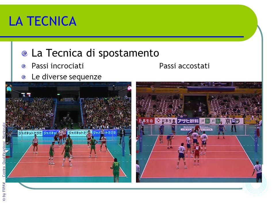 © by FIPAV - Centro Qualificazione Nazionale LA TECNICA La Tecnica di spostamento Passi incrociatiPassi accostati Le diverse sequenze
