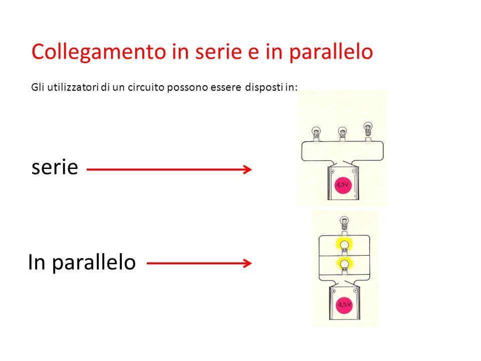 Collegamento in serie e in parallelo Gli utilizzatori di un circuito possono essere disposti in: serie In parallelo