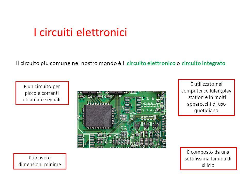 I circuiti elettronici Il circuito più comune nel nostro mondo è il circuito elettronico o circuito integrato È composto da una sottilissima lamina di silicio Può avere dimensioni minime È un circuito per piccole correnti chiamate segnali È utilizzato nei computer,cellulari,play -station e in molti apparecchi di uso quotidiano