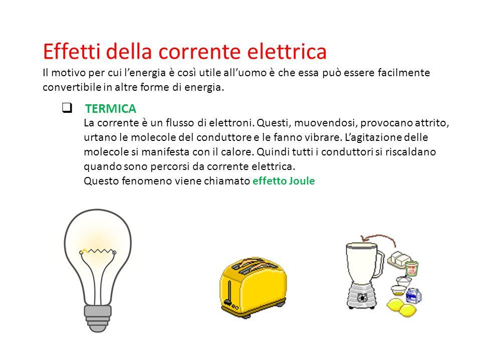 Effetti della corrente elettrica Il motivo per cui l'energia è così utile all'uomo è che essa può essere facilmente convertibile in altre forme di energia.