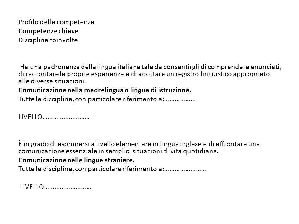 Profilo delle competenze Competenze chiave Discipline coinvolte Ha una padronanza della lingua italiana tale da consentirgli di comprendere enunciati,