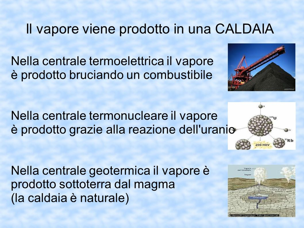 Il vapore viene prodotto in una CALDAIA Nella centrale termoelettrica il vapore è prodotto bruciando un combustibile Nella centrale termonucleare il v