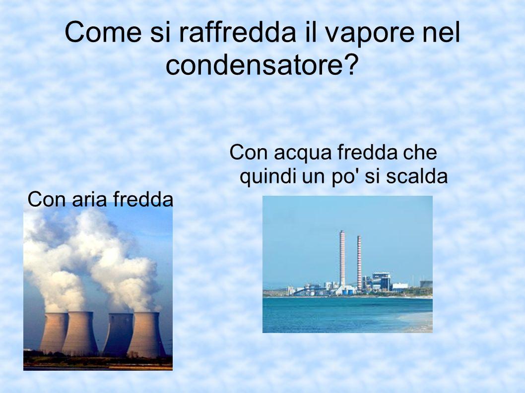 Come si raffredda il vapore nel condensatore? Con acqua fredda che quindi un po' si scalda Con aria fredda