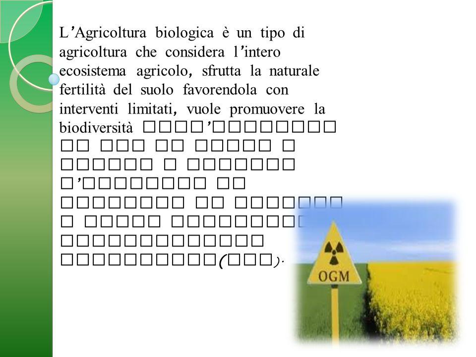 L ' Agricoltura biologica è un tipo di agricoltura che considera l ' intero ecosistema agricolo, sfrutta la naturale fertilità del suolo favorendola con interventi limitati, vuole promuovere la biodiversità dell ' ambiente in cui si opera e limita o esclude l ' utilizzo di prodotti di sintesi e degli organismi geneticamente modificati ( OGM ).