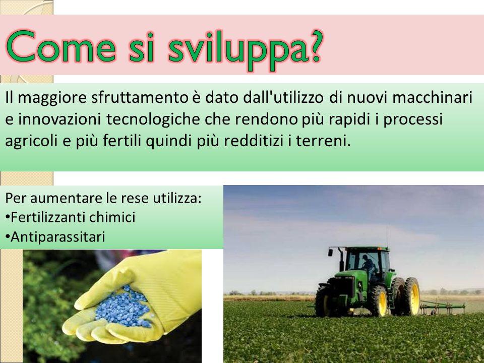 Il maggiore sfruttamento è dato dall utilizzo di nuovi macchinari e innovazioni tecnologiche che rendono più rapidi i processi agricoli e più fertili quindi più redditizi i terreni.