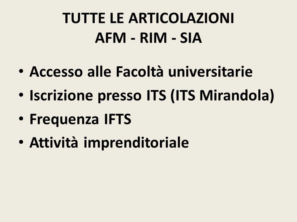TUTTE LE ARTICOLAZIONI AFM - RIM - SIA Accesso alle Facoltà universitarie Iscrizione presso ITS (ITS Mirandola) Frequenza IFTS Attività imprenditoriale