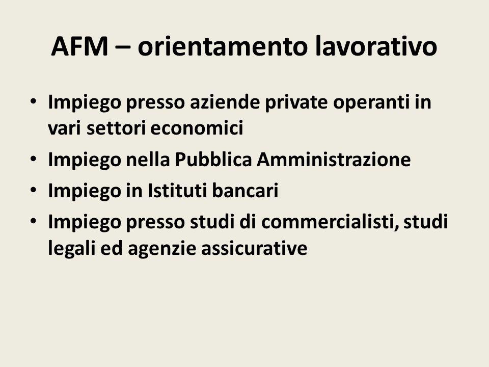 AFM – orientamento lavorativo Impiego presso aziende private operanti in vari settori economici Impiego nella Pubblica Amministrazione Impiego in Istituti bancari Impiego presso studi di commercialisti, studi legali ed agenzie assicurative