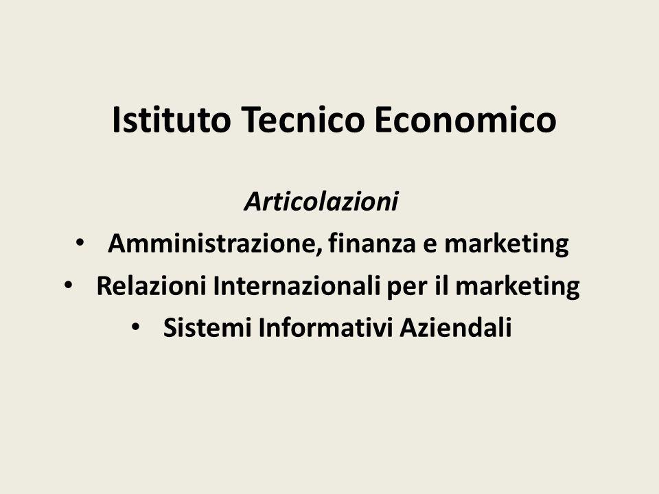 Istituto Tecnico Economico Articolazioni Amministrazione, finanza e marketing Relazioni Internazionali per il marketing Sistemi Informativi Aziendali