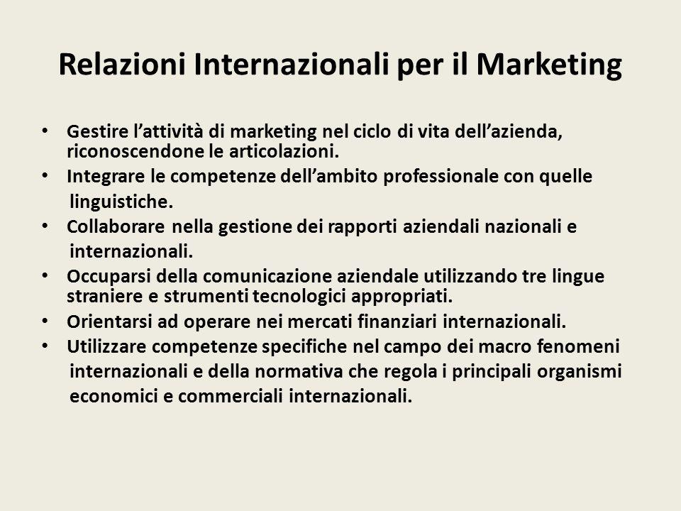 Relazioni Internazionali per il Marketing Gestire l'attività di marketing nel ciclo di vita dell'azienda, riconoscendone le articolazioni.