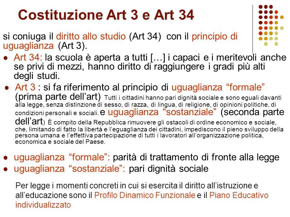 Costituzione Art 3 e Art 34 si coniuga il diritto allo studio (Art 34) con il principio di uguaglianza (Art 3).