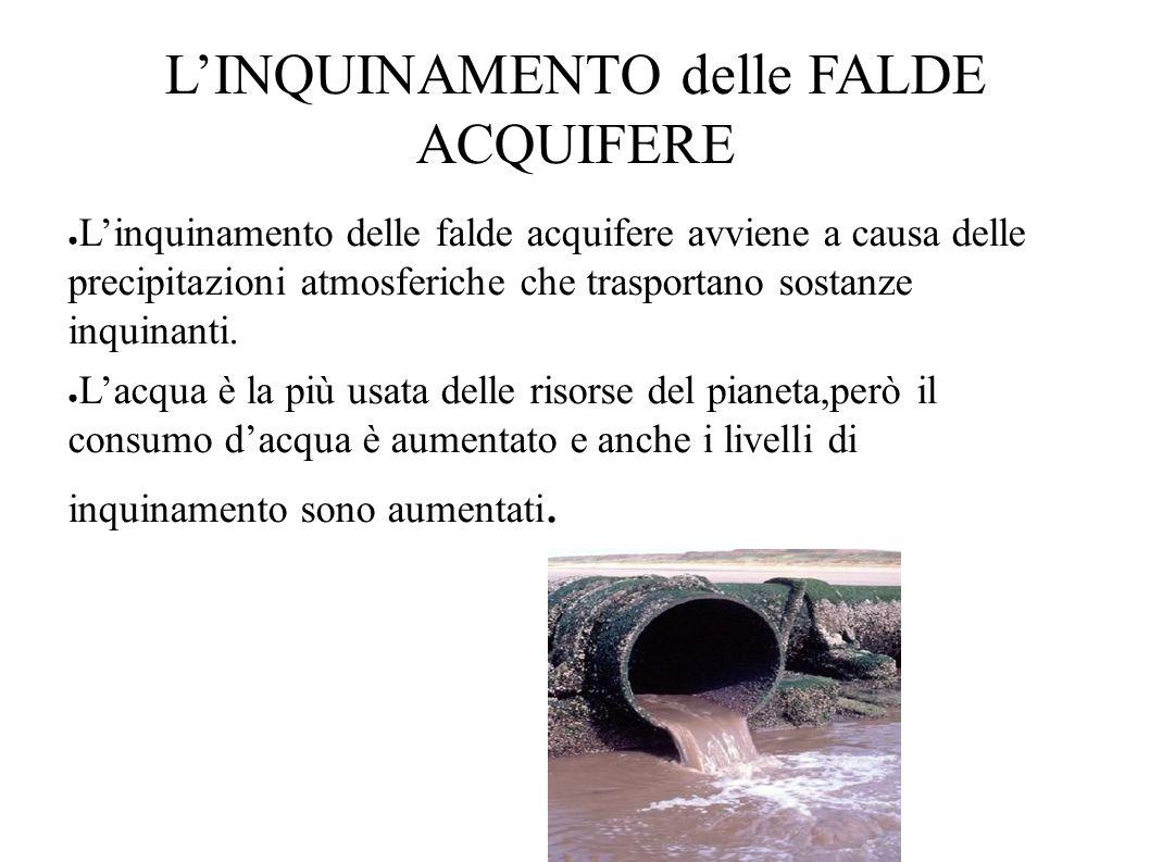 L'INQUINAMENTO delle FALDE ACQUIFERE ● L'inquinamento delle falde acquifere avviene a causa delle precipitazioni atmosferiche che trasportano sostanze inquinanti.