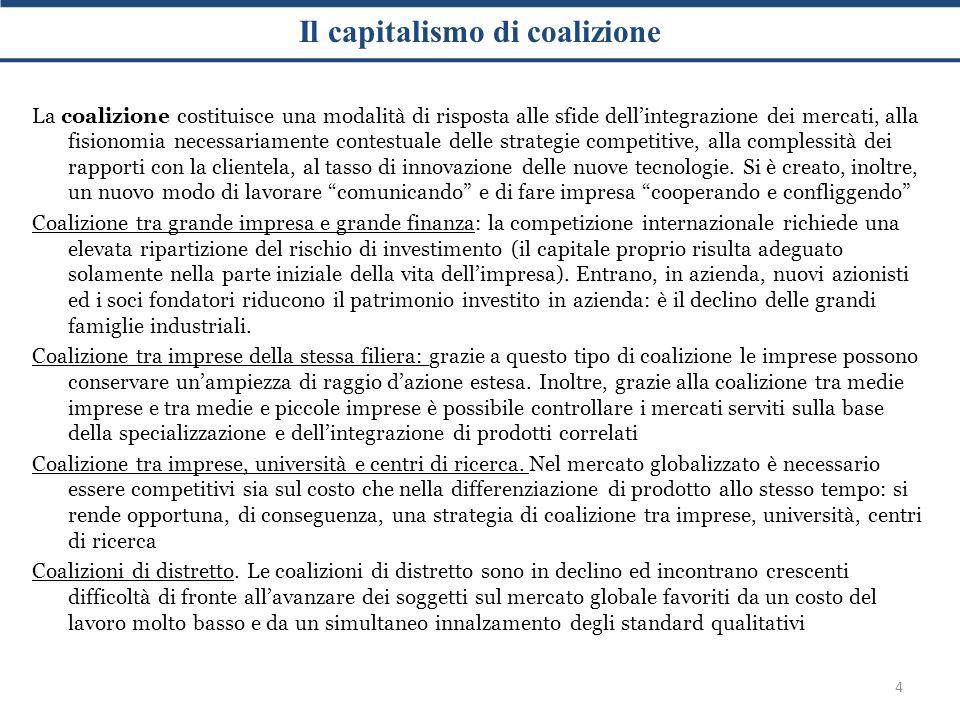 Il capitalismo di coalizione 4 La coalizione costituisce una modalità di risposta alle sfide dell'integrazione dei mercati, alla fisionomia necessariamente contestuale delle strategie competitive, alla complessità dei rapporti con la clientela, al tasso di innovazione delle nuove tecnologie.