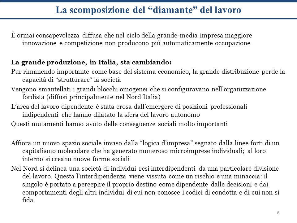 Il lavoro autonomo e dipendente 7 Con lavoro autonomo e indipendente si intendono tutte le forme di lavoro che necessitano di atteggiamenti acquisitivi di razionalità economica (rientrano in questa categoria sia i lavoratori a tempo determinato che il lavoro sommerso) In Italia su un totale di 24 milioni di lavoratori si hanno 12,6 milioni di dipendenti A fronte di un calo nell'occupazione del lavoro normato e tutelato si hanno aumenti nel settore dei lavori atipici, flessibili e autonomi Nel capitalismo molecolare, a fronte di uno zoccolo duro di lavoro salariato si rilevano forme di lavoro territorializzato legate al ciclo della subfornitura e nella esternalizzazione delle imprese; proliferano microimprese territoriali nel ciclo della consulenze e nella produzione di conoscenza Nonostante questi cambiamenti, la rappresentazione formale è ancora focalizzata sui lavoratori visibili :gli altri sono invisibili, atipici e spesso definiti come evasori fiscali (la questione settentrionale come questione politica ha origine dal disagio di questi soggetti)