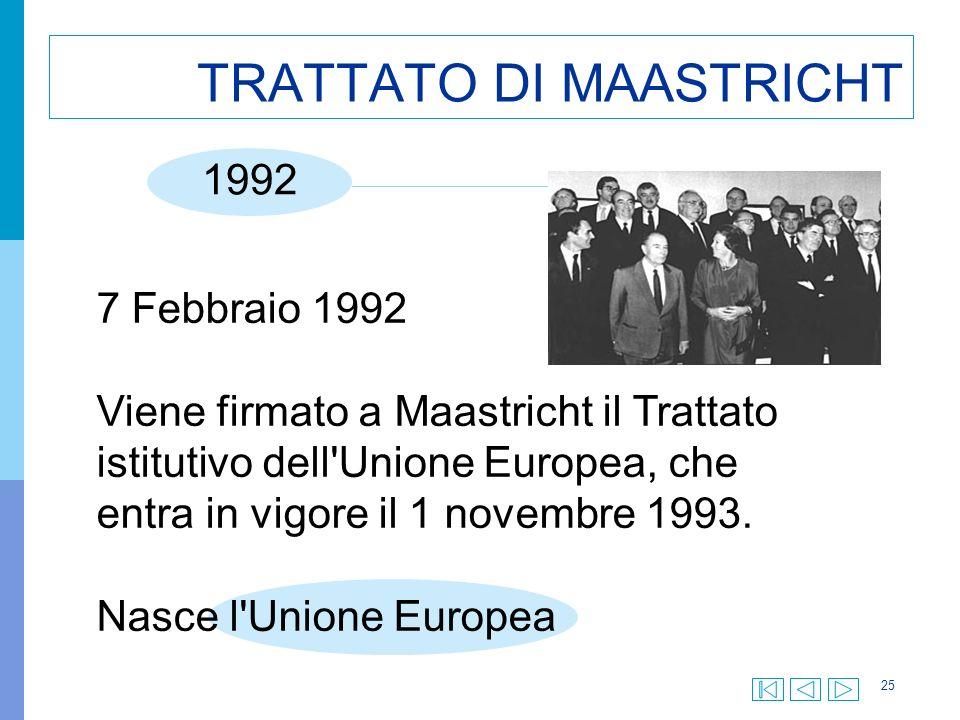25 TRATTATO DI MAASTRICHT 7 Febbraio 1992 Viene firmato a Maastricht il Trattato istitutivo dell Unione Europea, che entra in vigore il 1 novembre 1993.
