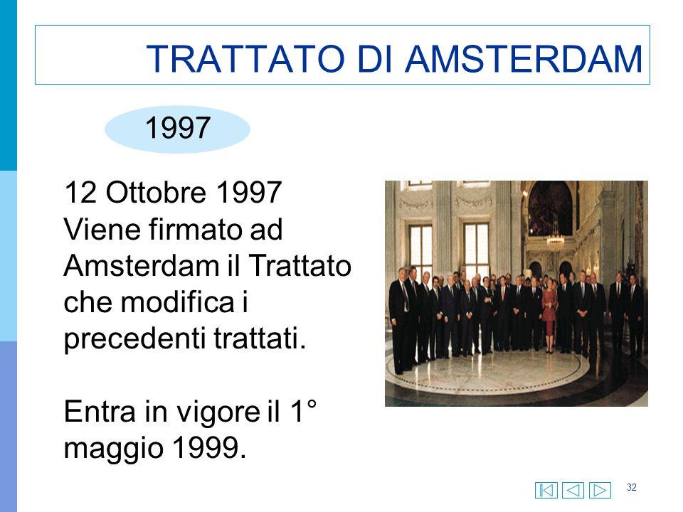 32 TRATTATO DI AMSTERDAM 1997 12 Ottobre 1997 Viene firmato ad Amsterdam il Trattato che modifica i precedenti trattati.