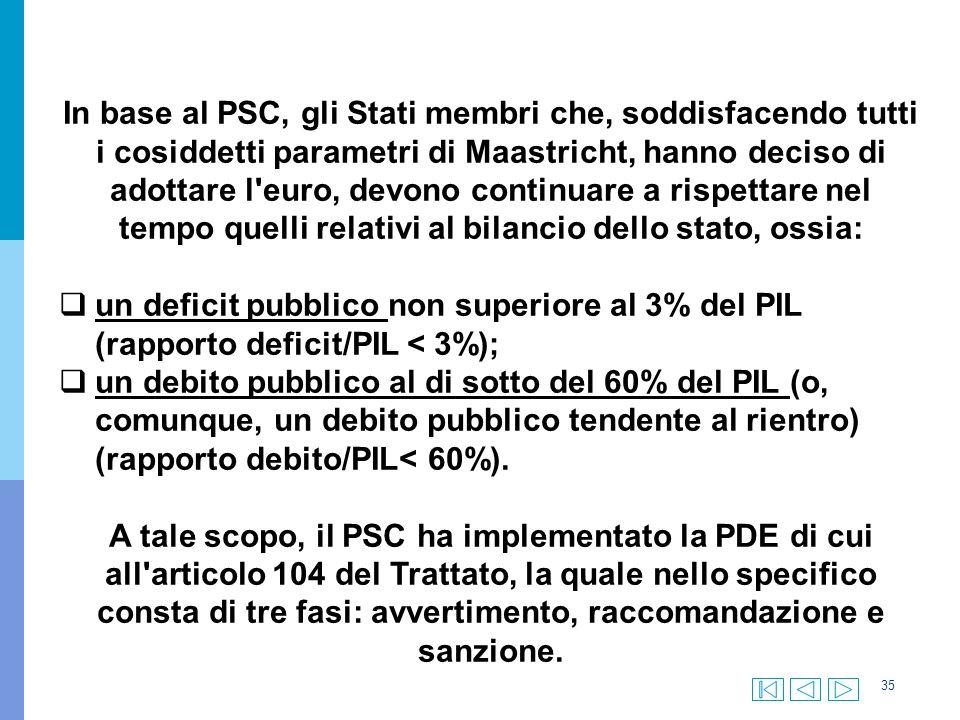 35 In base al PSC, gli Stati membri che, soddisfacendo tutti i cosiddetti parametri di Maastricht, hanno deciso di adottare l euro, devono continuare a rispettare nel tempo quelli relativi al bilancio dello stato, ossia:  un deficit pubblico non superiore al 3% del PIL (rapporto deficit/PIL < 3%);  un debito pubblico al di sotto del 60% del PIL (o, comunque, un debito pubblico tendente al rientro) (rapporto debito/PIL< 60%).