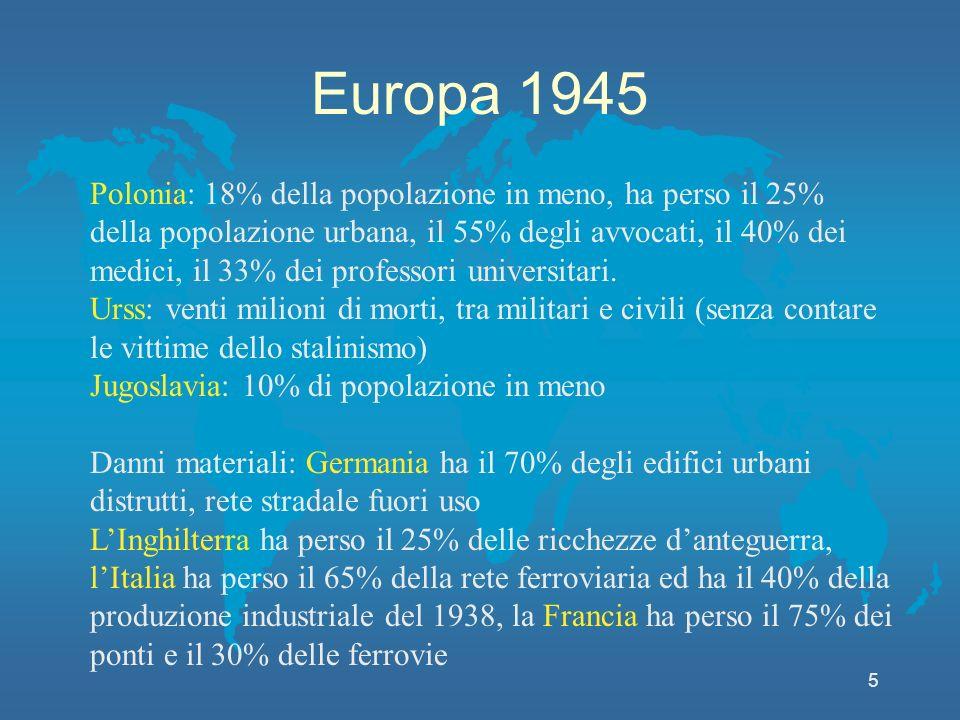 Europa 1945 5 Polonia: 18% della popolazione in meno, ha perso il 25% della popolazione urbana, il 55% degli avvocati, il 40% dei medici, il 33% dei professori universitari.