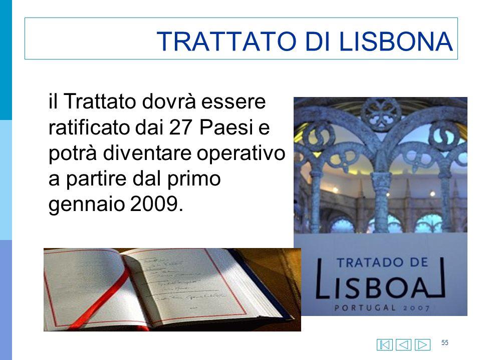 55 TRATTATO DI LISBONA il Trattato dovrà essere ratificato dai 27 Paesi e potrà diventare operativo a partire dal primo gennaio 2009.