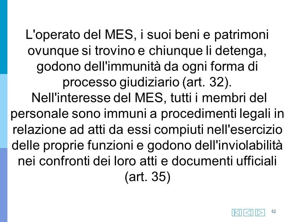 62 L operato del MES, i suoi beni e patrimoni ovunque si trovino e chiunque li detenga, godono dell immunità da ogni forma di processo giudiziario (art.