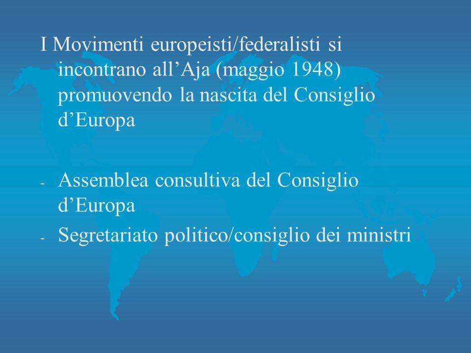 I Movimenti europeisti/federalisti si incontrano all'Aja (maggio 1948) promuovendo la nascita del Consiglio d'Europa - Assemblea consultiva del Consiglio d'Europa - Segretariato politico/consiglio dei ministri