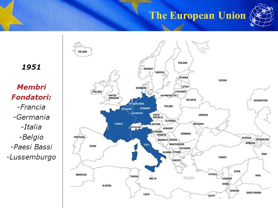 The European Union 1951 Membri Fondatori: -Francia -Germania -Italia -Belgio -Paesi Bassi -Lussemburgo