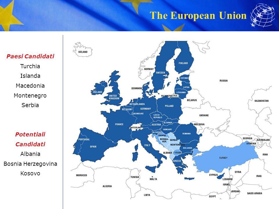 The European Union Paesi Candidati Turchia Islanda Macedonia Montenegro Serbia Potentiali Candidati Albania Bosnia Herzegovina Kosovo
