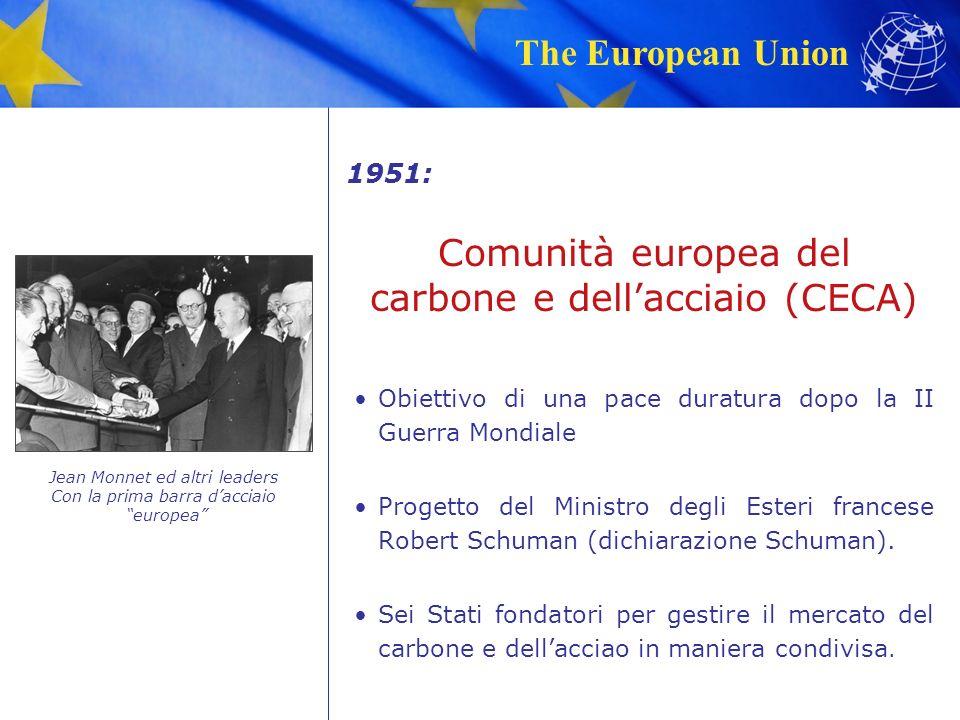 The European Union 1951: Obiettivo di una pace duratura dopo la II Guerra Mondiale Progetto del Ministro degli Esteri francese Robert Schuman (dichiarazione Schuman).