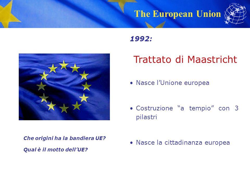 The European Union Trattato di Maastricht Nasce l'Unione europea Costruzione a tempio con 3 pilastri Nasce la cittadinanza europea 1992: Che origini ha la bandiera UE.