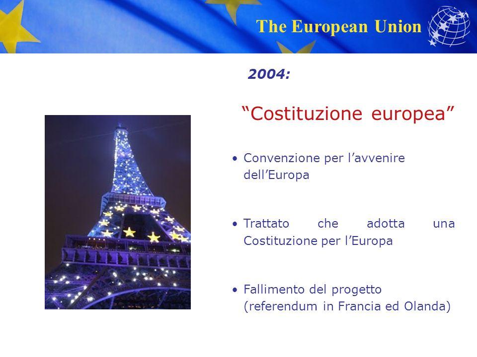 The European Union Costituzione europea Convenzione per l'avvenire dell'Europa Trattato che adotta una Costituzione per l'Europa Fallimento del progetto (referendum in Francia ed Olanda) 2004: