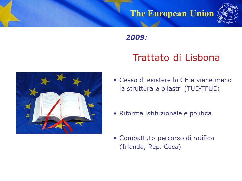 The European Union Trattato di Lisbona Cessa di esistere la CE e viene meno la struttura a pilastri (TUE-TFUE) Riforma istituzionale e politica Combattuto percorso di ratifica (Irlanda, Rep.