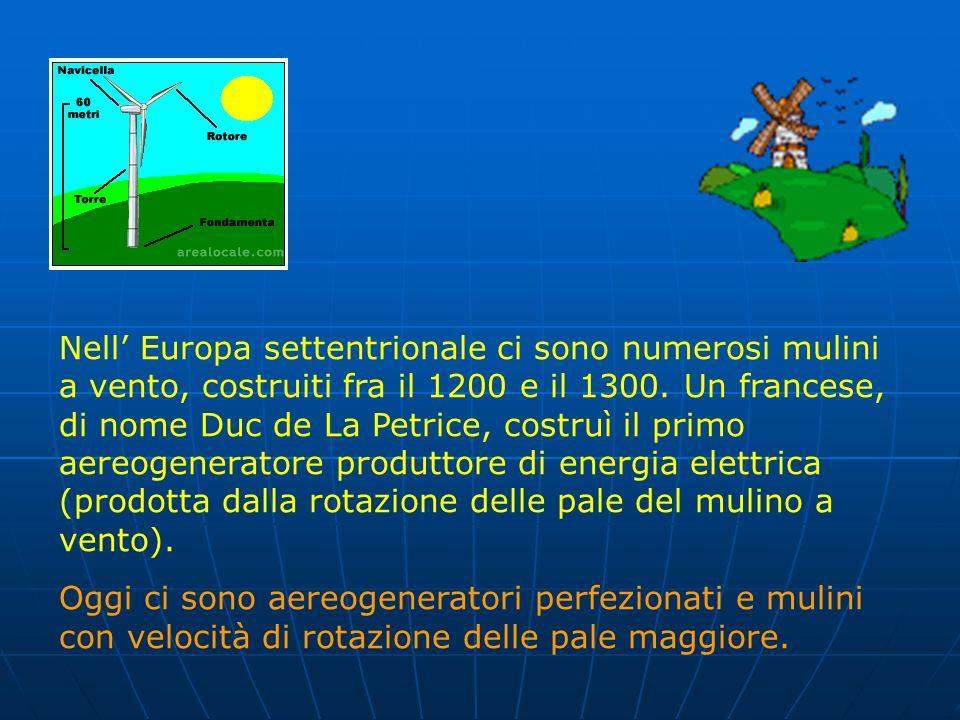 L' energia eolica (da Eolo, il dio greco del vento),anche essa primaria e rinnovabile, è stata usata per la prima volta dagli Egizi per muovere le bar