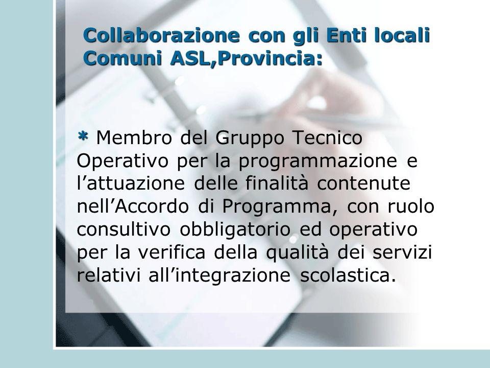 Collaborazione con gli Enti locali Comuni ASL,Provincia: * * Membro del Gruppo Tecnico Operativo per la programmazione e l'attuazione delle finalità contenute nell'Accordo di Programma, con ruolo consultivo obbligatorio ed operativo per la verifica della qualità dei servizi relativi all'integrazione scolastica.