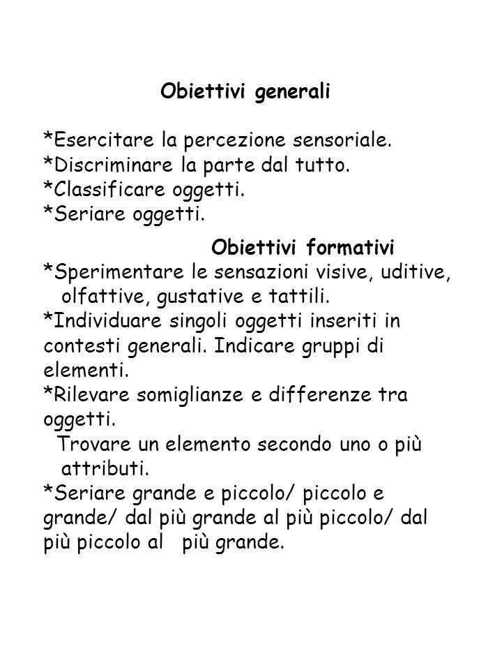 Obiettivi generali *Esercitare la percezione sensoriale.