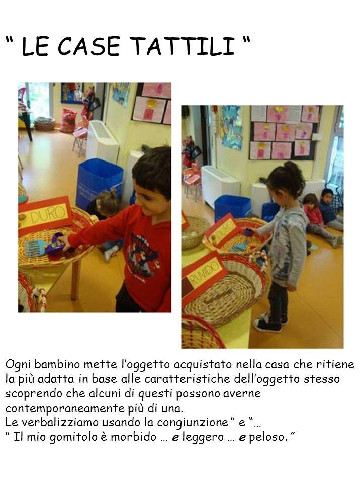 LE CASE TATTILI Ogni bambino mette l'oggetto acquistato nella casa che ritiene la più adatta in base alle caratteristiche dell'oggetto stesso scoprendo che alcuni di questi possono averne contemporaneamente più di una.