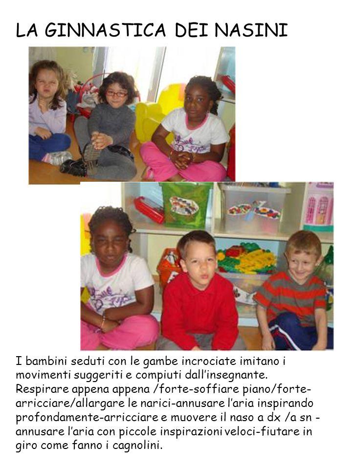 LA GINNASTICA DEI NASINI I bambini seduti con le gambe incrociate imitano i movimenti suggeriti e compiuti dall'insegnante.