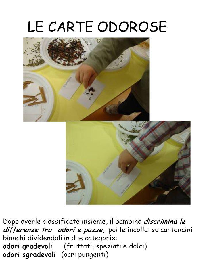 LE CARTE ODOROSE Dopo averle classificate insieme, il bambino discrimina le differenze tra odori e puzze, poi le incolla su cartoncini bianchi dividendoli in due categorie: odori gradevoli (fruttati, speziati e dolci) odori sgradevoli (acri pungenti)