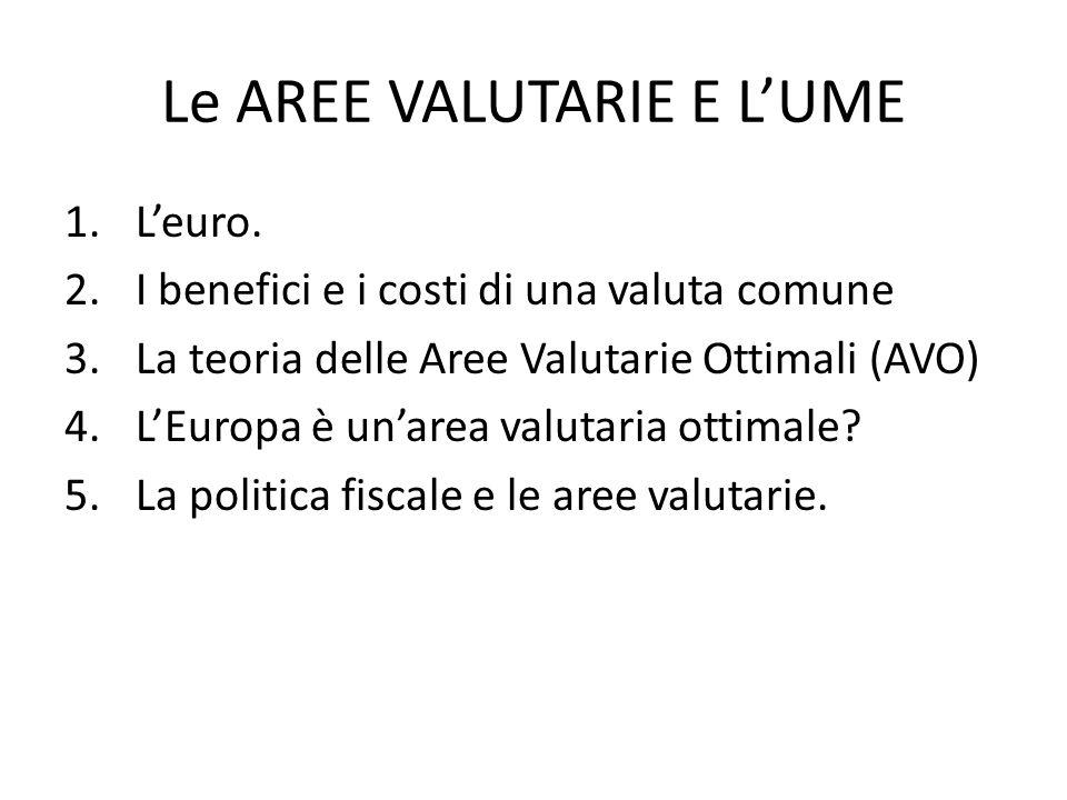 Le AREE VALUTARIE E L'UME 1.L'euro. 2.I benefici e i costi di una valuta comune 3.La teoria delle Aree Valutarie Ottimali (AVO) 4.L'Europa è un'area v