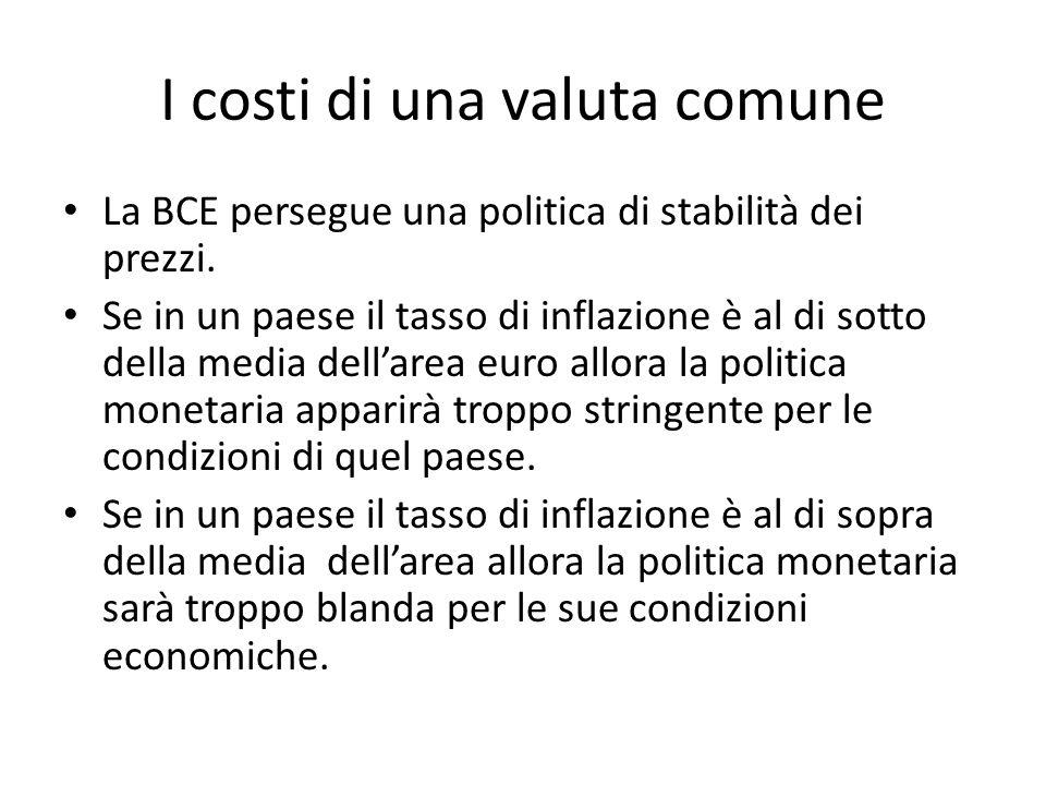I costi di una valuta comune La BCE persegue una politica di stabilità dei prezzi. Se in un paese il tasso di inflazione è al di sotto della media del