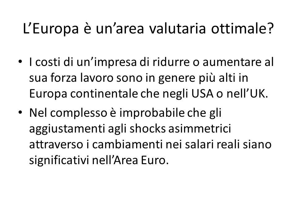 L'Europa è un'area valutaria ottimale? I costi di un'impresa di ridurre o aumentare al sua forza lavoro sono in genere più alti in Europa continentale