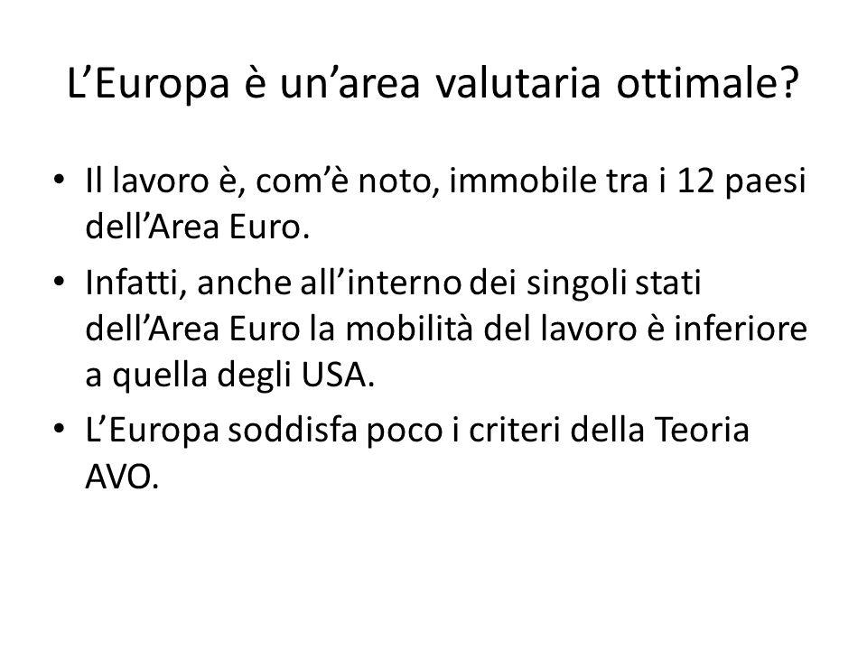L'Europa è un'area valutaria ottimale? Il lavoro è, com'è noto, immobile tra i 12 paesi dell'Area Euro. Infatti, anche all'interno dei singoli stati d