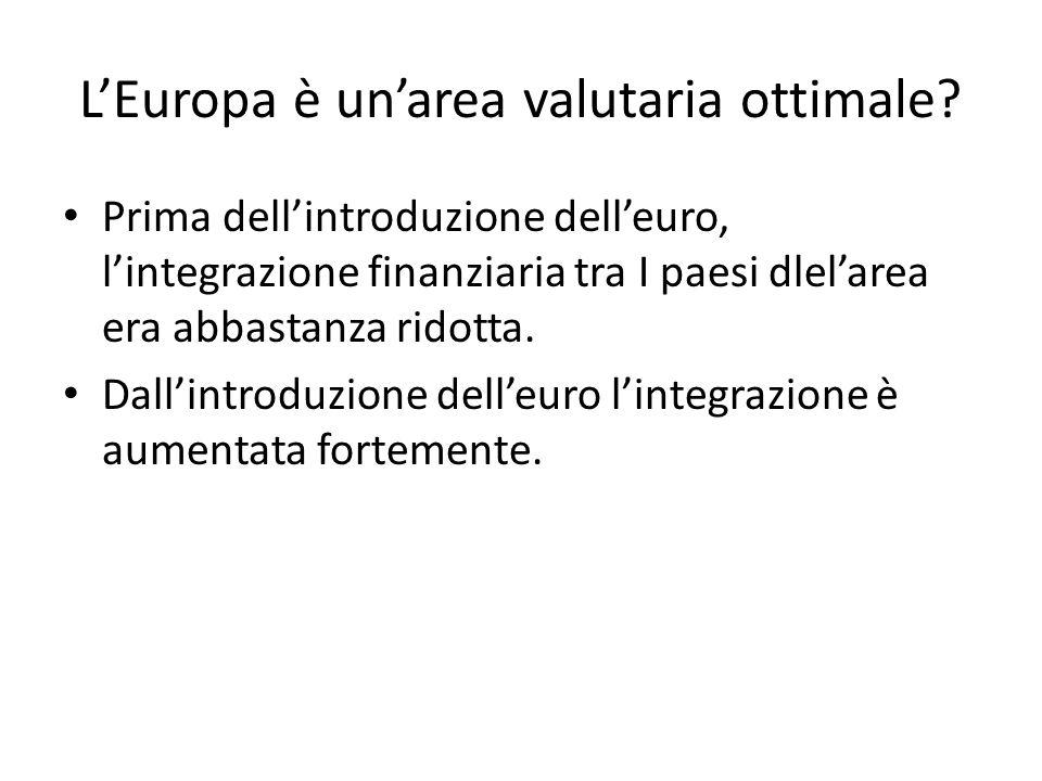 L'Europa è un'area valutaria ottimale? Prima dell'introduzione dell'euro, l'integrazione finanziaria tra I paesi dlel'area era abbastanza ridotta. Dal
