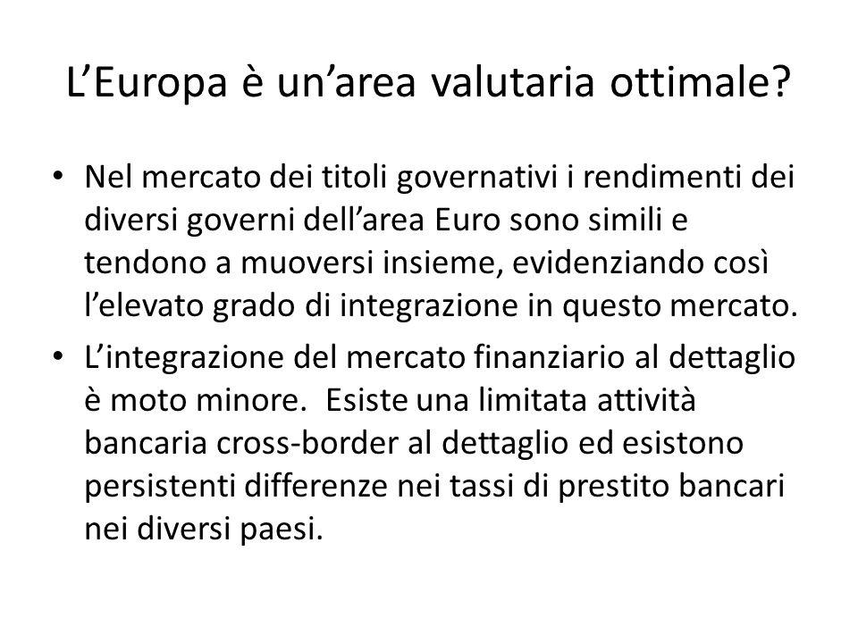 L'Europa è un'area valutaria ottimale? Nel mercato dei titoli governativi i rendimenti dei diversi governi dell'area Euro sono simili e tendono a muov