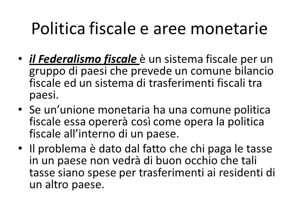 Politica fiscale e aree monetarie il Federalismo fiscale è un sistema fiscale per un gruppo di paesi che prevede un comune bilancio fiscale ed un sist