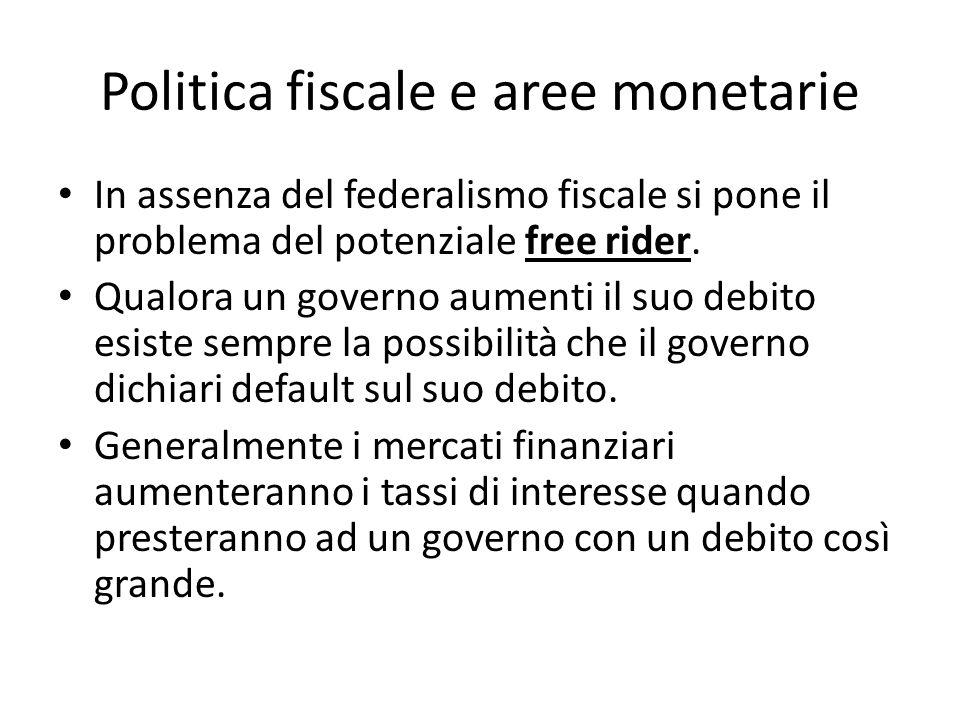 Politica fiscale e aree monetarie In assenza del federalismo fiscale si pone il problema del potenziale free rider. Qualora un governo aumenti il suo