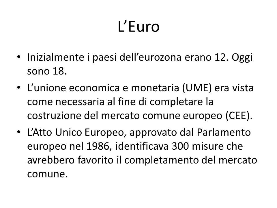 L'Euro Inizialmente i paesi dell'eurozona erano 12. Oggi sono 18. L'unione economica e monetaria (UME) era vista come necessaria al fine di completare