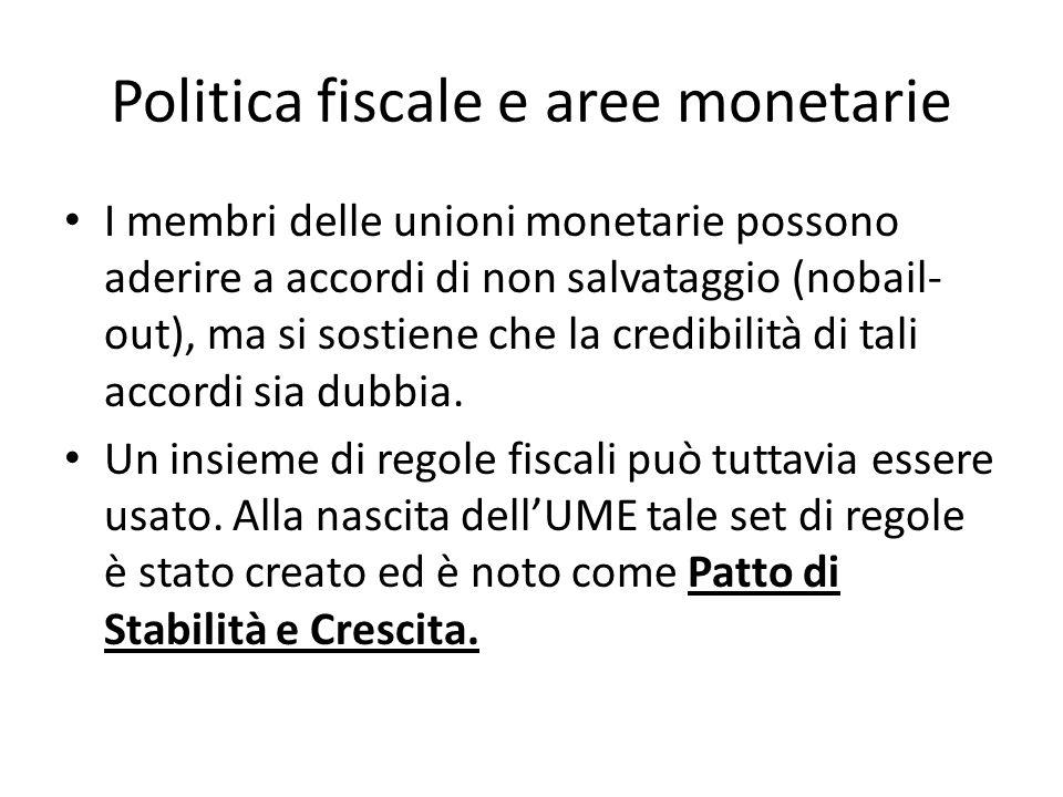Politica fiscale e aree monetarie I membri delle unioni monetarie possono aderire a accordi di non salvataggio (nobail- out), ma si sostiene che la cr