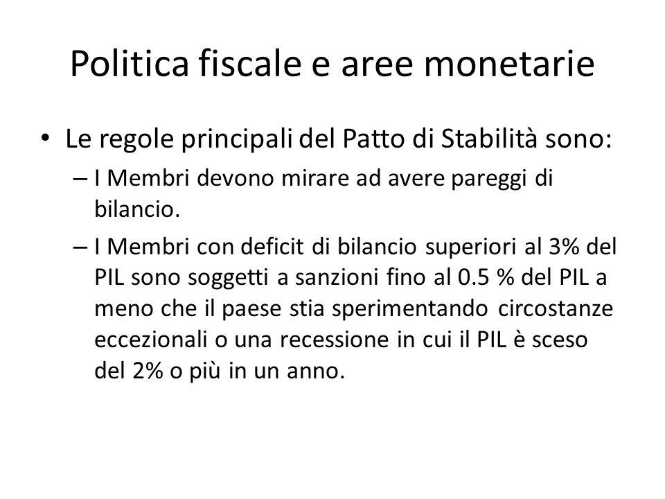 Politica fiscale e aree monetarie Le regole principali del Patto di Stabilità sono: – I Membri devono mirare ad avere pareggi di bilancio. – I Membri