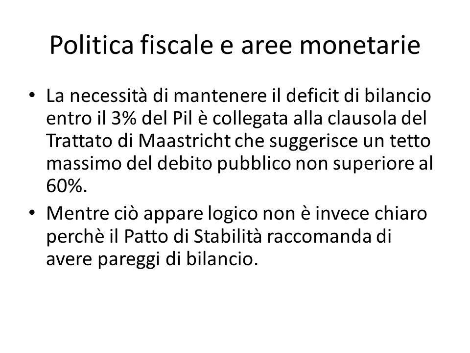 Politica fiscale e aree monetarie La necessità di mantenere il deficit di bilancio entro il 3% del Pil è collegata alla clausola del Trattato di Maast